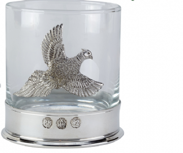 Very high quality pewterware Pheasant, 12oz whisky glass